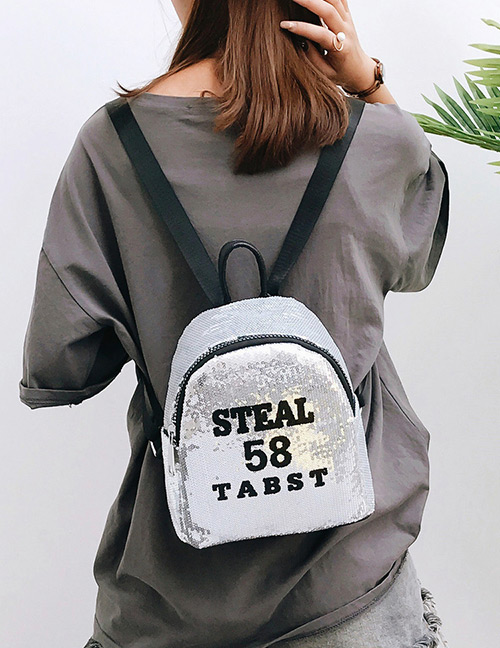Trendy Silver Color Sequins&letter Pattern Decorated Backpack