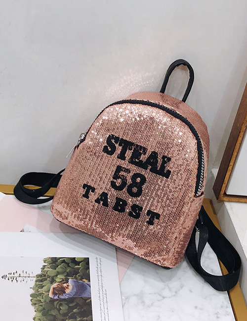 Trendy Champagne Sequins&letter Pattern Decorated Backpack