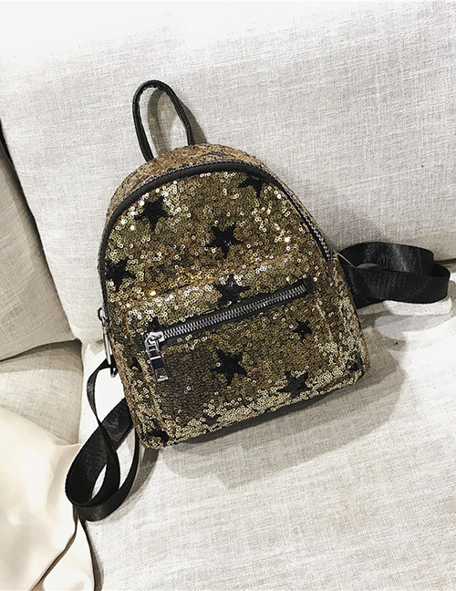Trendy Gold Color Sequins Decorated Pure Color Backpack