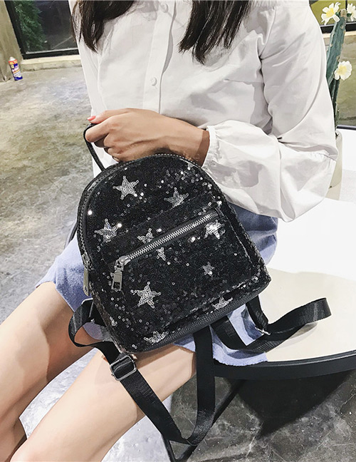 Trendy Black Star Shape Pattern Decorated Backpack
