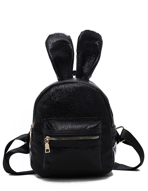 Trendy Black Ears Shape Design Pure Color Backpack(small)