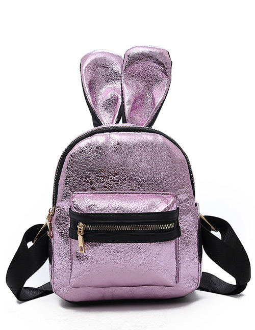 Trendy Pink Ears Shape Design Pure Color Backpack(small)