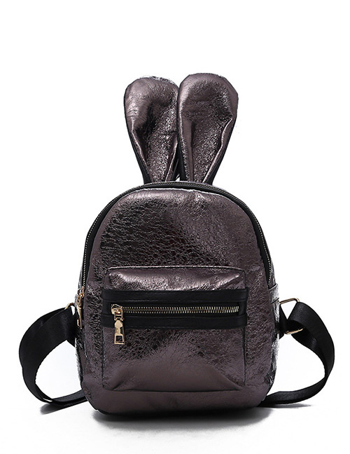 Trendy Gun Black Ears Shape Design Pure Color Backpack(small)