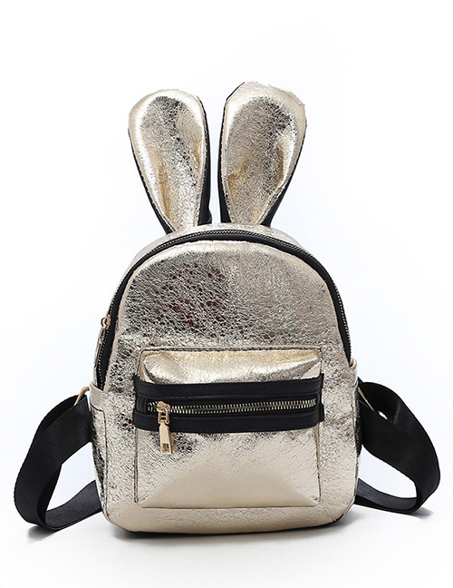 Trendy Gold Color Ears Shape Design Pure Color Backpack(small)