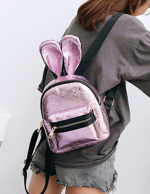 Trendy Pink Pure Color Decorated Ears Shape Backpack(large)