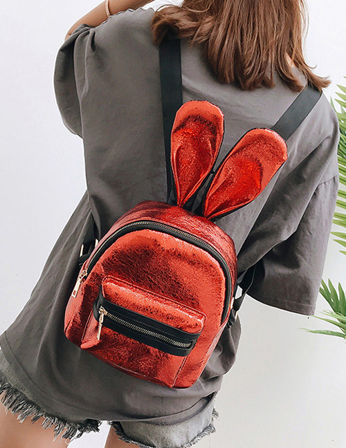 Trendy Red Pure Color Decorated Ears Shape Backpack(large)