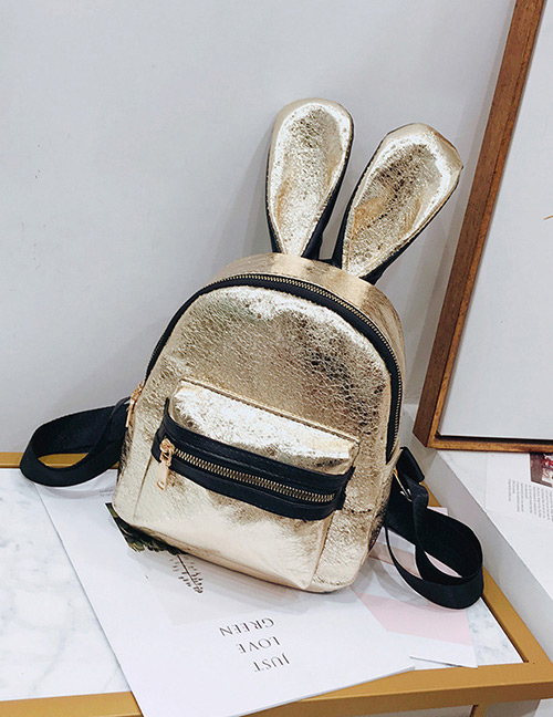 Trendy Gold Color Pure Color Decorated Ears Shape Backpack(large)