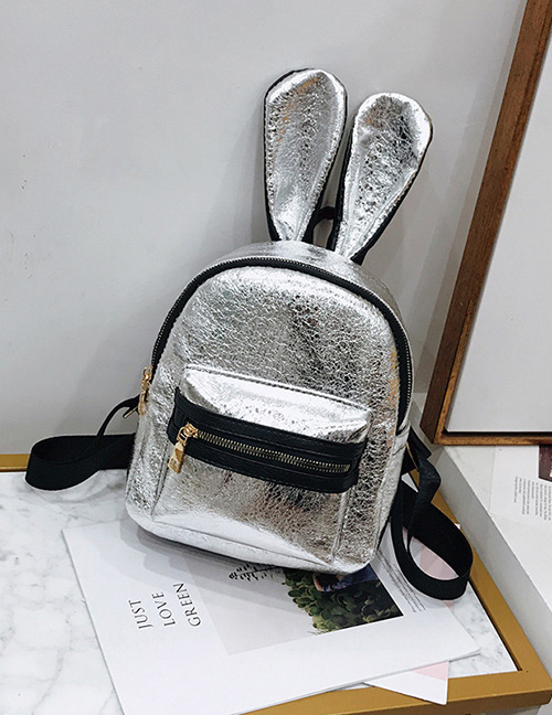 Trendy Silver Color Pure Color Decorated Ears Shape Backpack(large)