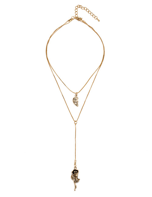 Elegant Gold Color Rose Pendant Decorated Double Layer Necklace