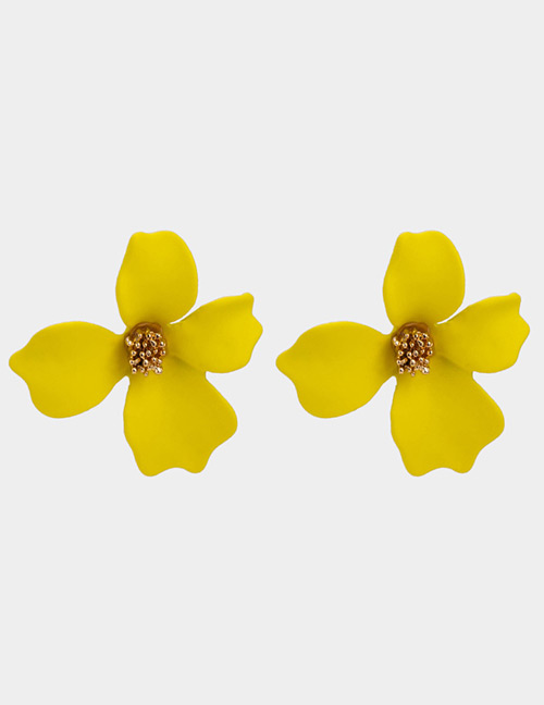 Elegant Yellow Flower Shape Design Pure Color Earrings