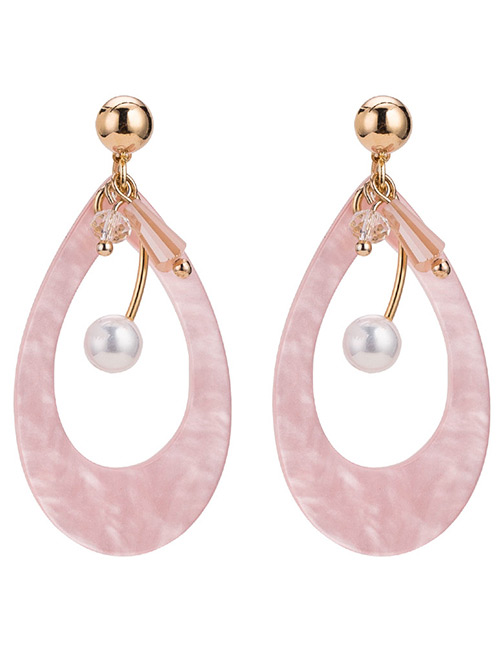 Elegant Pink Water Drop Shape Design Hollow Out Earrings