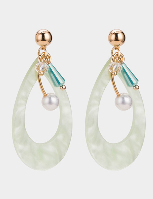 Elegant Green Water Drop Shape Design Hollow Out Earrings