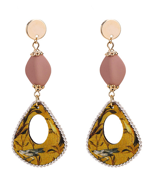 Elegant Yellow Hollow Out Design Long Earrings