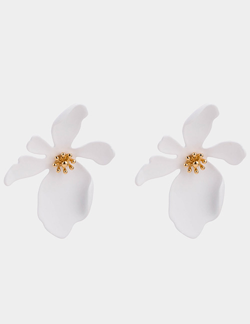 Elegant White Pure Color Design Flower Shape Earrings