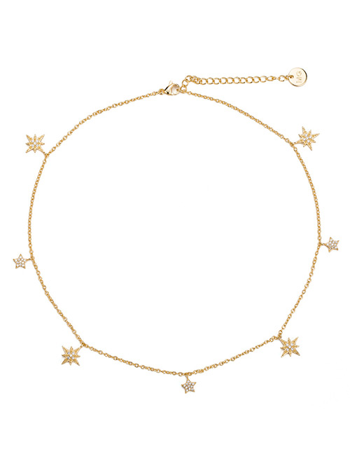 Elegant Gold Color Star Shape Decorated Simple Necklace