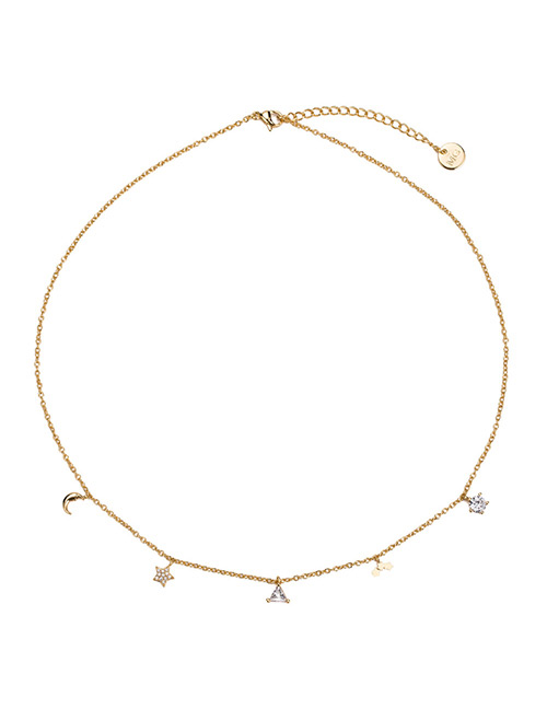 Elegant Gold Color Moon&star Shape Decorated Necklace
