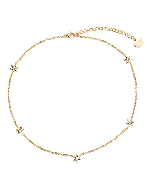 Elegant Gold Color Star Shape Decorated Pure Color Necklace