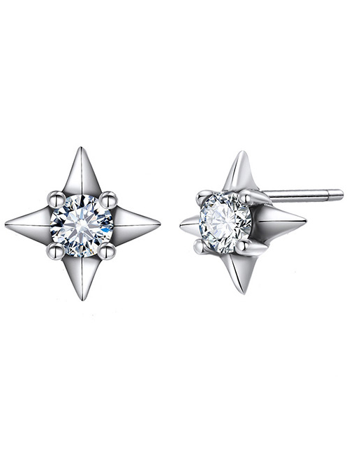 Elegant Silver Color Star Shape Decorated Pure Color Earrings