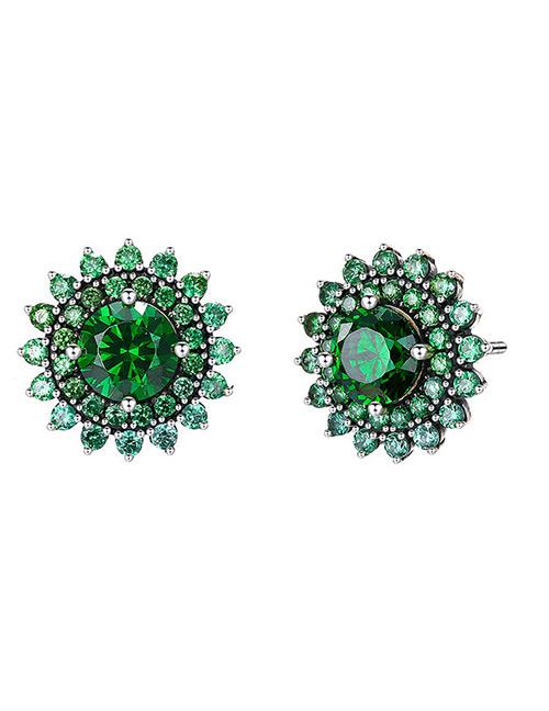 Elegant Green Flowers Shape Design Pure Color Earrings