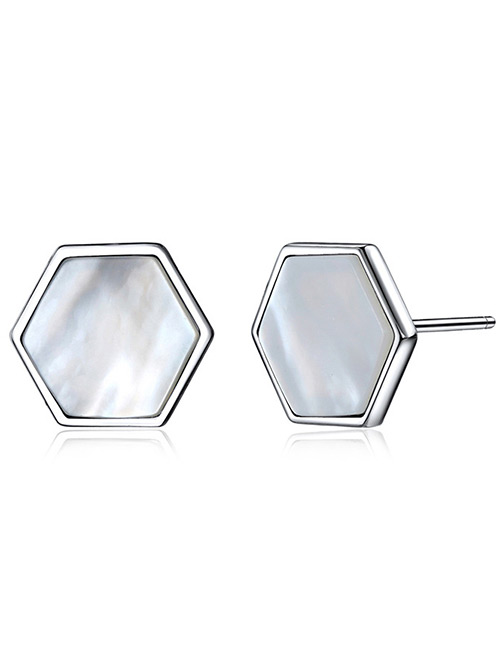 Elegant Silver Color Hexagon Shape Design Pure Color Earrings
