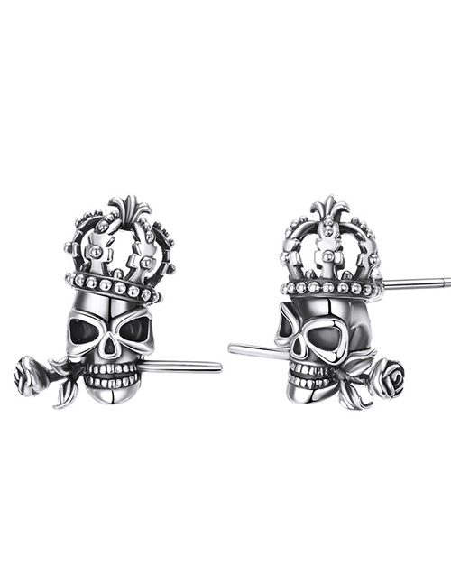 Elegant Silver Color Skull&rose Decorated Pure Color Earrings