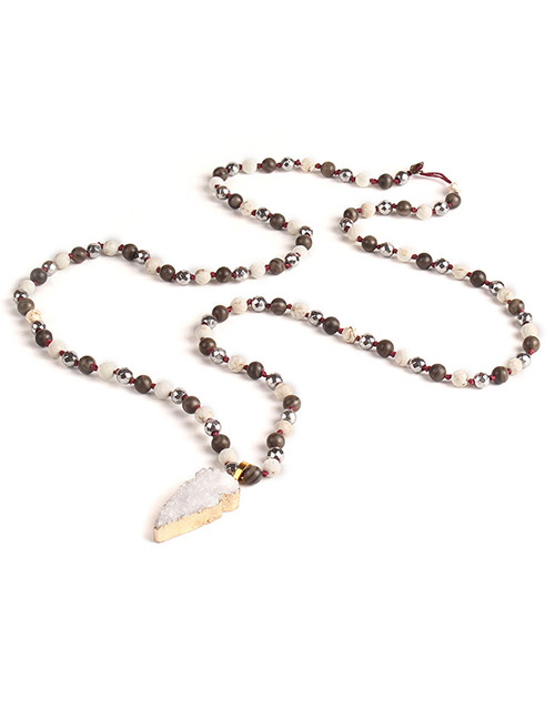 Trendy White Irregular Shape Gemstone Decorated Necklace