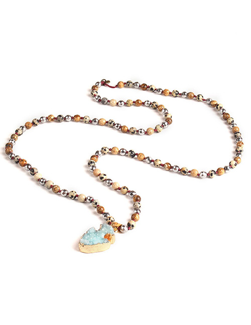 Trendy Blue Irregular Shape Gemstone Decorated Necklace