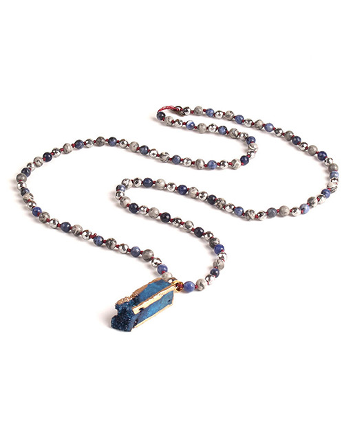 Trendy Dark Blue Square Shape Gemstone Decorated Necklace