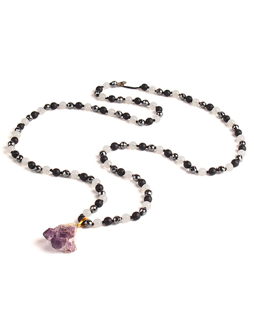 Trendy Purple Irregular Shape Gemstone Decorated Necklace