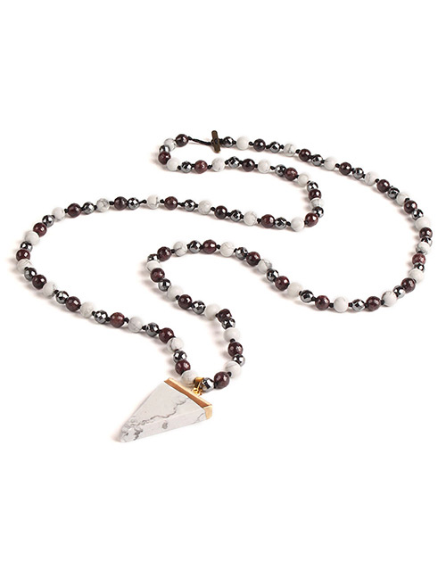 Trendy White Triangle Shape Gemstone Decorated Necklace