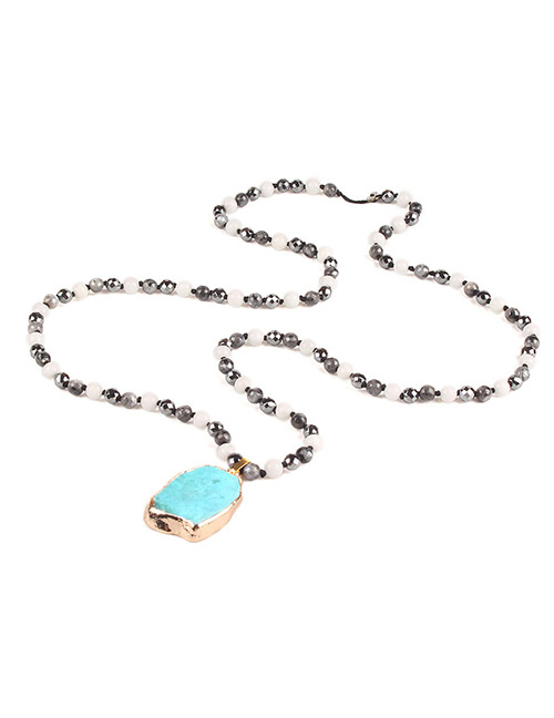 Trendy Blue Oval Shape Gemstone Decorated Necklace