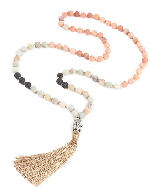 Trendy Khaki Tassel Decorated Long Beads Necklace