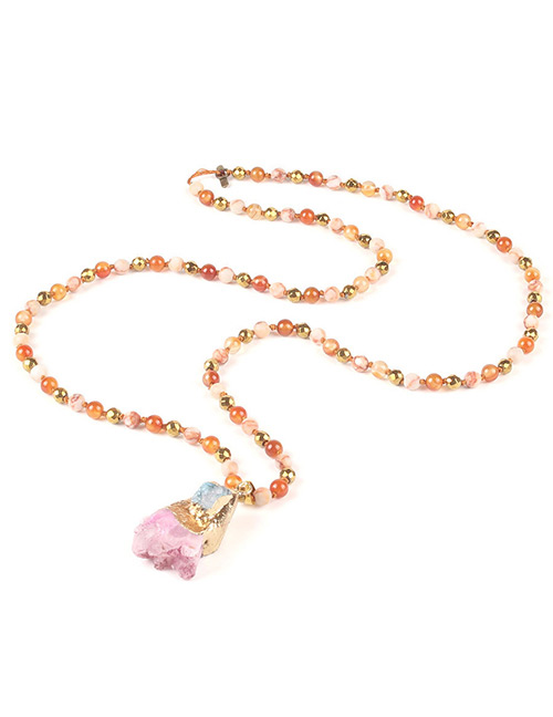Trendy Pink Beads&gemstone Decorated Long Necklace