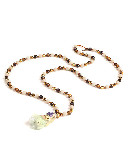 Trendy Light Green Beads&gemstone Decorated Long Necklace