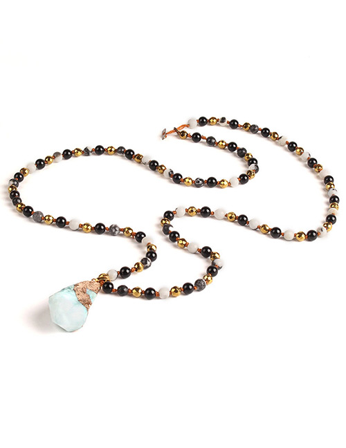 Trendy Light Blue Beads&gemstone Decorated Long Necklace