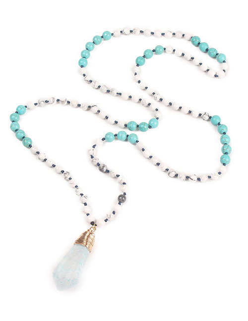 Trendy Light Blue Water Drop Shape Pendant Decorated Necklace