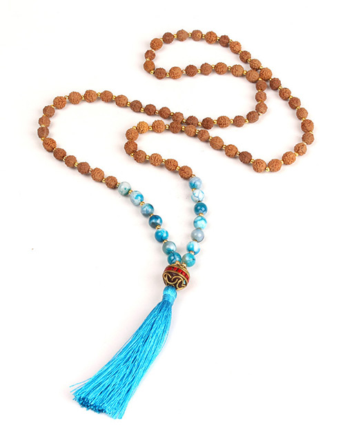 Trendy Blue Beads Decorated Long Tassel Necklace