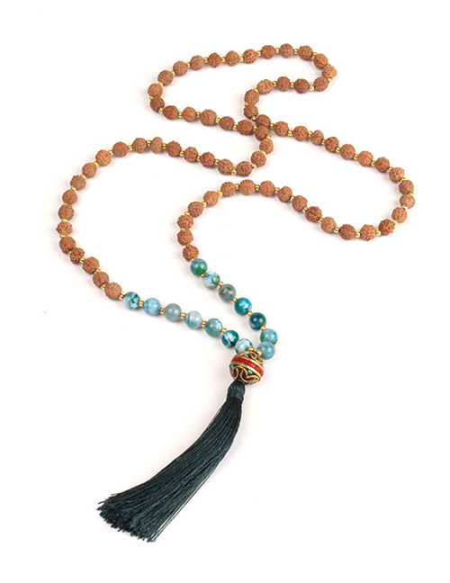 Trendy Dark Green Beads Decorated Long Tassel Necklace