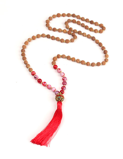 Trendy Red Beads Decorated Long Tassel Necklace