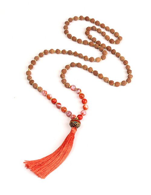Trendy Orange Beads Decorated Long Tassel Necklace