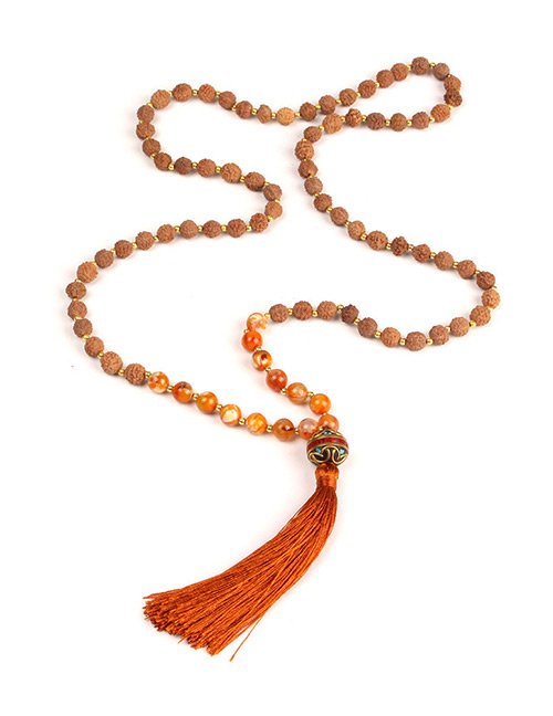 Trendy Brown Beads Decorated Long Tassel Necklace