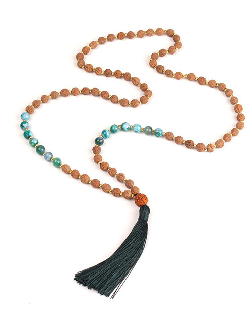 Vintage Dark Green Tassel&beads Decorated Long Necklace