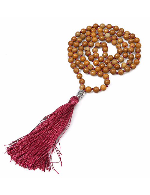 Vintage Khaki+red Color Matching Design Long Tassel Necklace