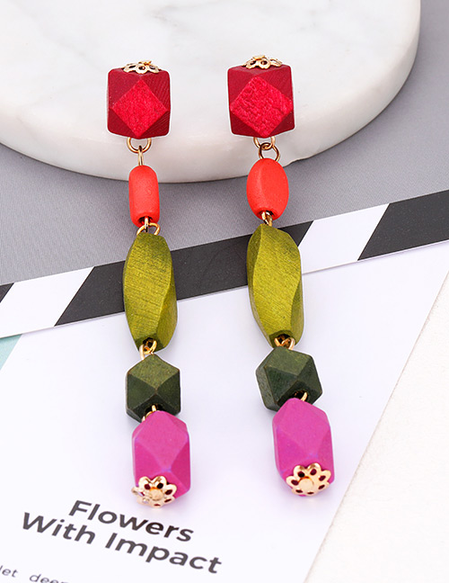 Elegant Green Geometric Shape Design Long Earrings