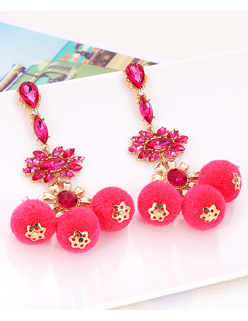 Elegant Plum Red Fuzzy Balls Decorated Pom Earrings
