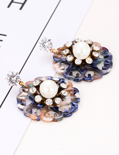Elegant Blue Hollow Out Flowers Decorated Earrings