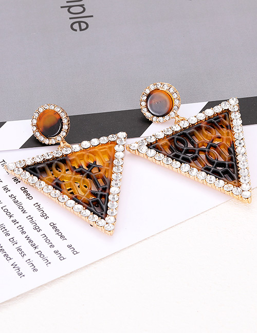 Elegant Coffee Triangle Shape Design Hollow Out Earrings