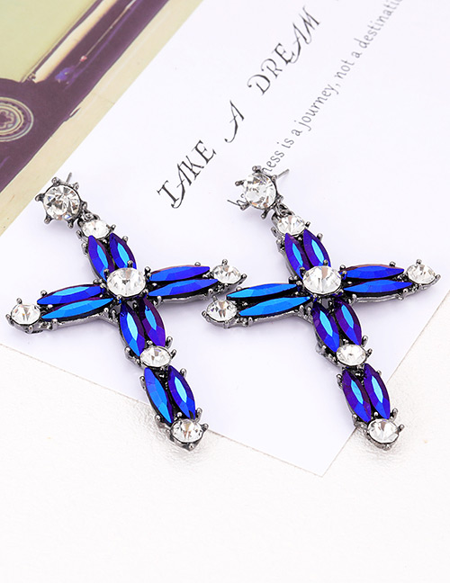 Elegant Sapphire Blue Cross Shape Design Simple Earrings