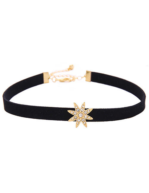 Fashion Black Star Shape Decorated Simple Choker