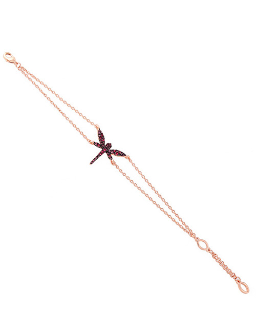 Fashion Plum Red Dragonfly Decorated Double Layer Bracelet
